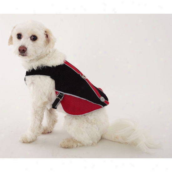 Doggles Dog Wear Reflective Mesh Vest Harness In Red And Black