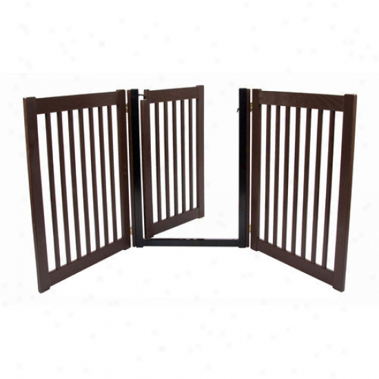 Dynamic Accents 32'' Walk Through 3 Free Standing Pet Gate In Mahogany