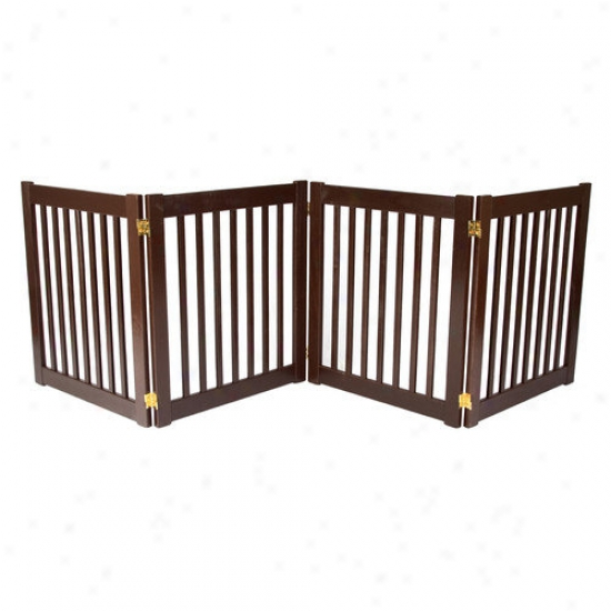 Dynamic Accents Four 27'' Panel Free Position Pet Gate In Mahogany