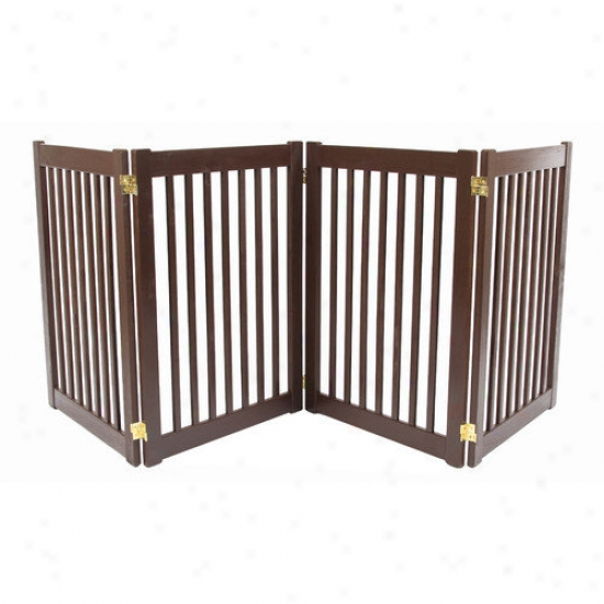 Dynamic Accents Four 32'' Panel Free Standing Pet Gate In Mahogany