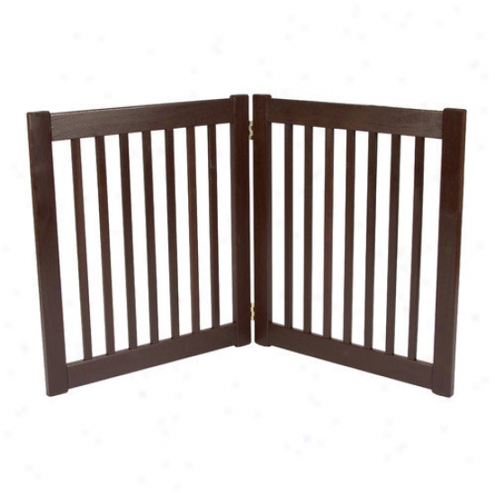 Dynamic Language Two 27'' Panel Free Standing Ez Pet Gate In Mahogany