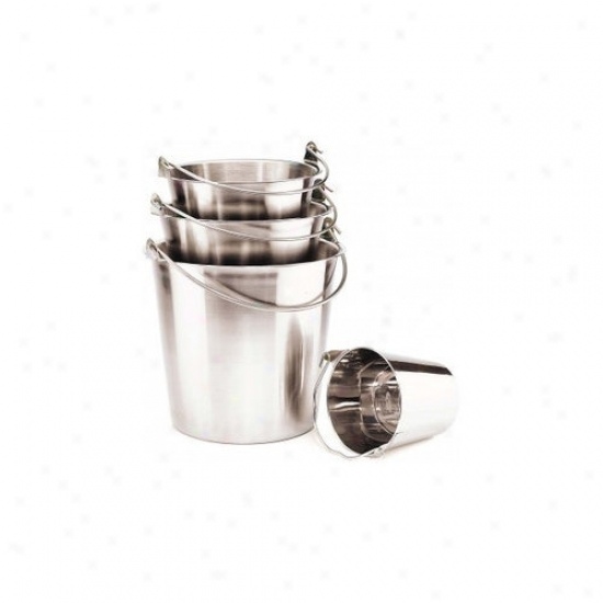 Ethical Pet Pail Wiyh Handle In Stainless Ste3l