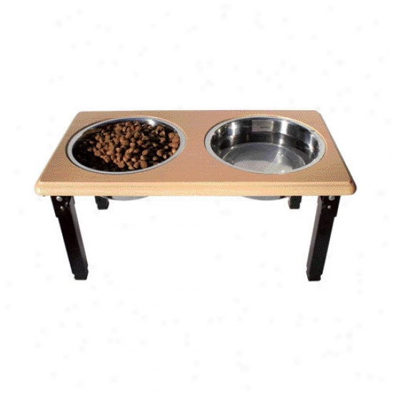 Ethical Pet Posture Peo Adjustable Double Pet Diner In Oak