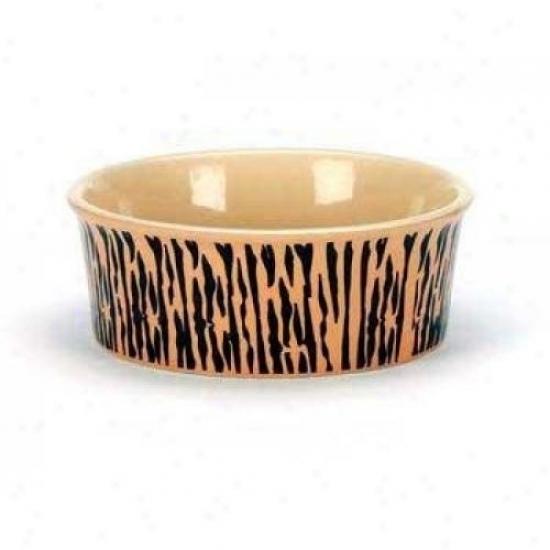 Ethical Stoneware 6971 Gilded Paw Dog Dish