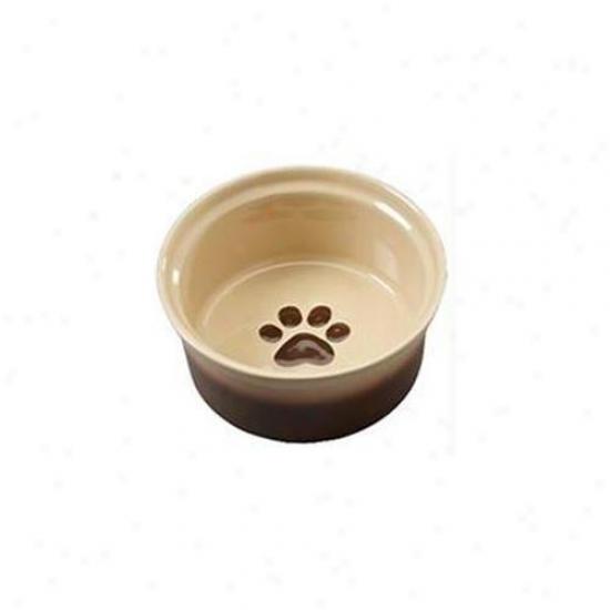 Ethical Stoneware Dish - Two Sound Sahara Dog Dish- Tapioca-nutmeg 5 Inch