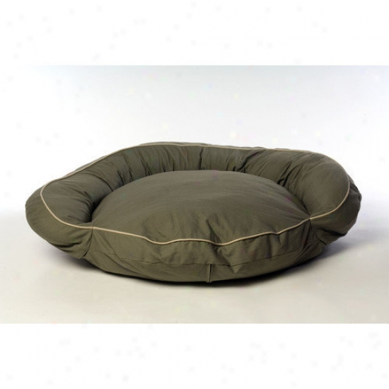 Everest Pet Classic Twill Bolster Dog Bed In Sage With Khaki Cording