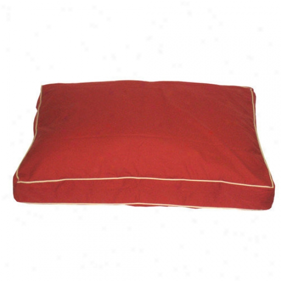 Everest Pet Classic Tqill Rectangular Pet Bed In Red With Khaki Cording