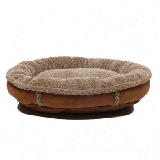 Everest Pet Faux Suede Round Comfy Cup  Dog Bed In Brown