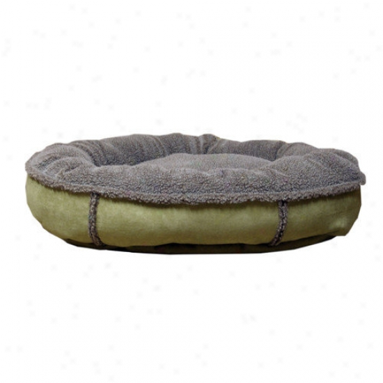 Everest Pet Faux Suede Round Comfy Cup  Dog Bed In Sage