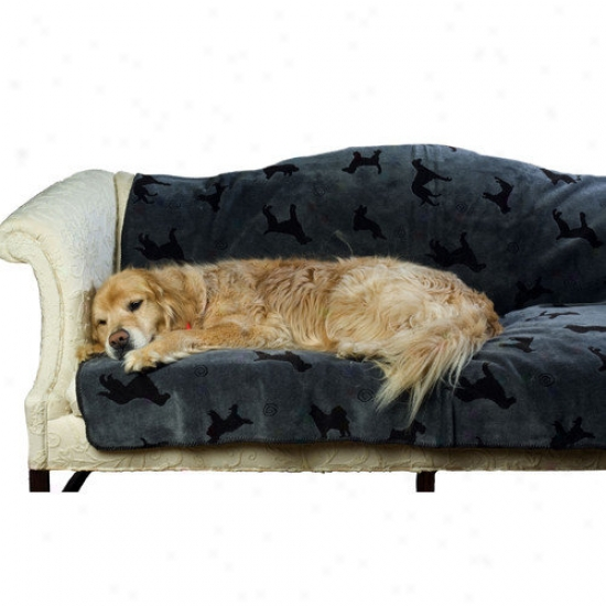 Everest Pet Plush Embossed Dog Throw In Charcoal
