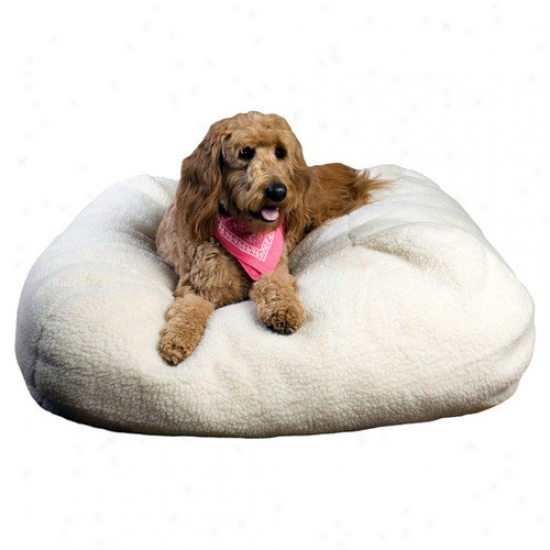 Everest Pet Sherpa Puff Ball Pet Bed In Natural Sherpa