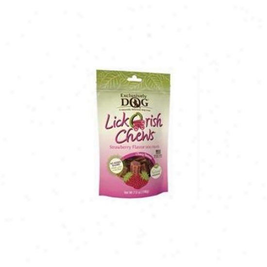 Exclusively Pey Inc 48200 Exclusively Pet Inc-exclusively Dog Lickorish Chews- Strawberry 7 Ounce