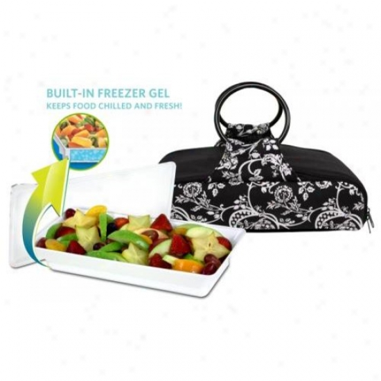 Fit And Fresh 442ff79 Carrier Bag With Platter Bandw Floral Large