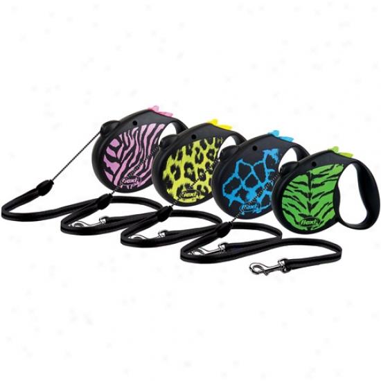 Flexi Usa Retractable Animal Print Leash, Pink Zebra