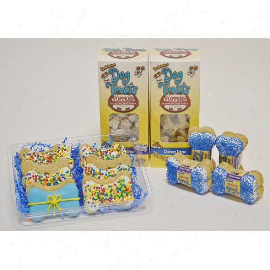 Foppers Birthday Gift Set In Blue Dog Treat