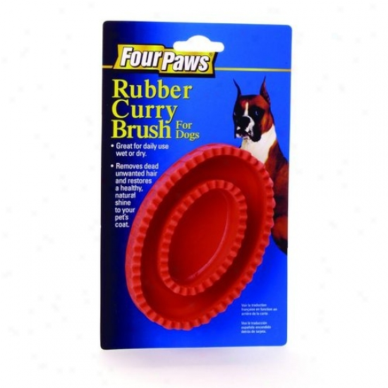 Four Paws 100202057/00570 Rubber Curry Brush For Dogs