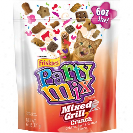 Friskies Treats Party Mix Mixed Grill Crunch Cat Treats, 6 Oz