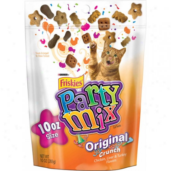 Friskies Treats Party Mix Original Crunch Cat Treats, 10 Oz