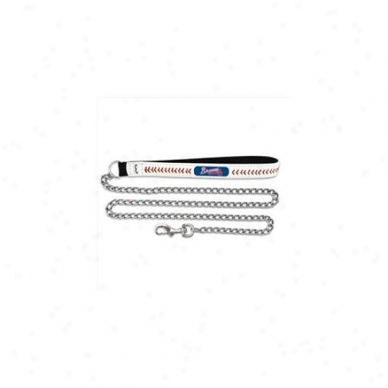 Gamewear Cll-mlb-atb-m Atlanta Braves Medium Baseball Leafher With 2.-5mm Chain Leash