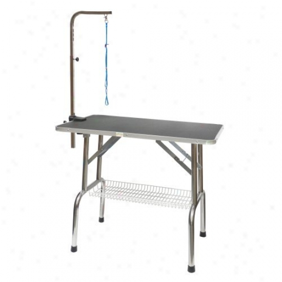 Go Pet Club Heavy Duty Stainpess Steel Pet Dog Grooming Table With Arm
