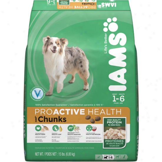 Iams Proactive Health Chunks Dog Food, 15 Lb