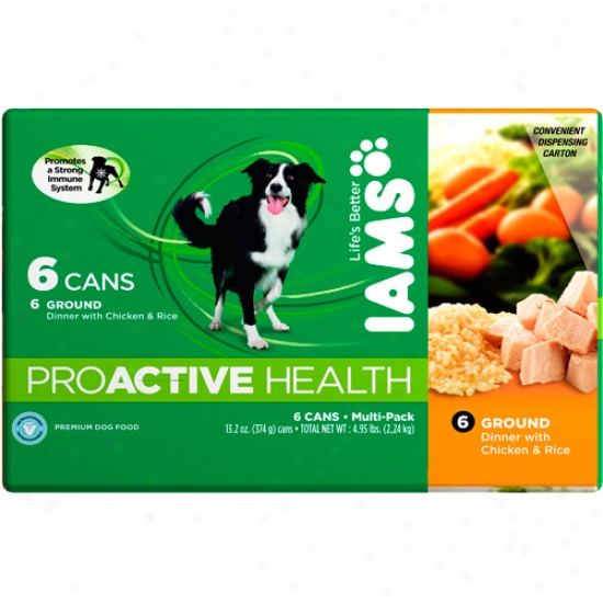 Iams Proactive Health Ground Dinnwr With Chicken & Rice Multi-pack 6 Cans, 13.2 Oz (each)