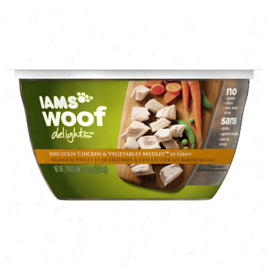 Iams Woof Delights Bowl Lickin'-Chicken And 7 Vegetables Medley Humidity Dog Food, 8 Oz