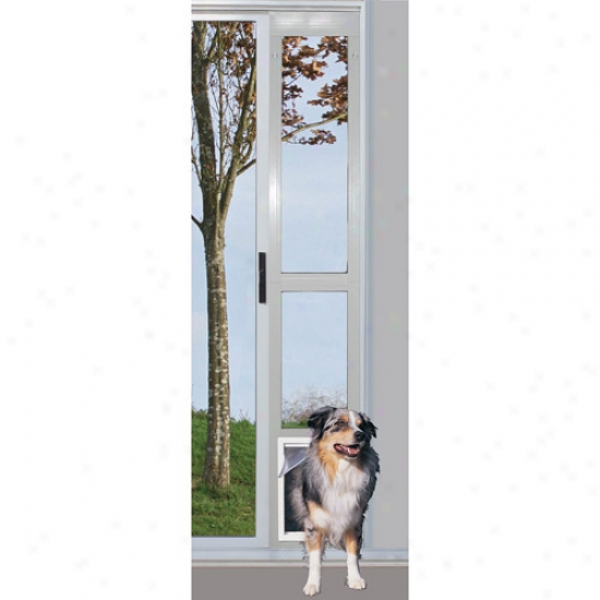 Ideal Modular Aluminum Patio Pet Door White, Additional Large For Pets To 90 Lbs.