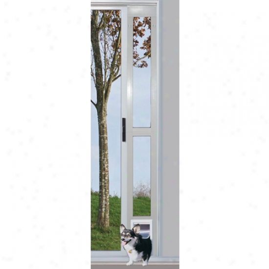 Ideal Modular Aluminum Patio Pet DoorW hite, Mean For Pets To 35 Lbs.