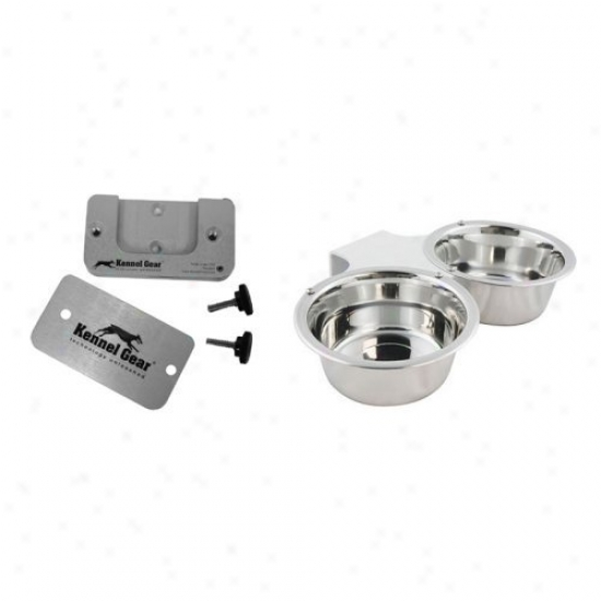 Kennel Gear Double Bowl Sys5em With Adhesive Mount