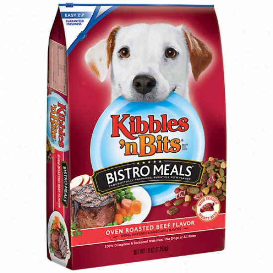Kibbles 'n Bits Bistro Meals Oven Roasted Dog Food, Beef Flavor, 16 Lbs