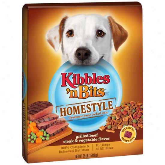 Kibbles 'n Bits Homestyle Grilled Beef Steak & Vegetable Flavor Dog Feed, 35 Lbs