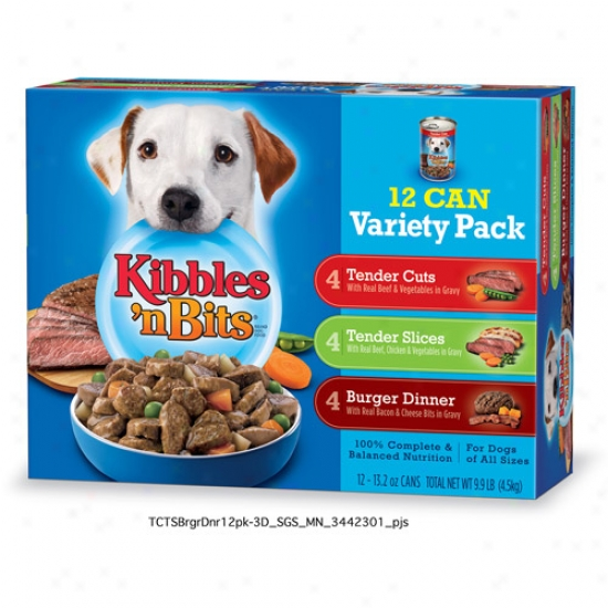 Kibbles 'n Bits Variety Pack Cannee Dog Food,  12ct