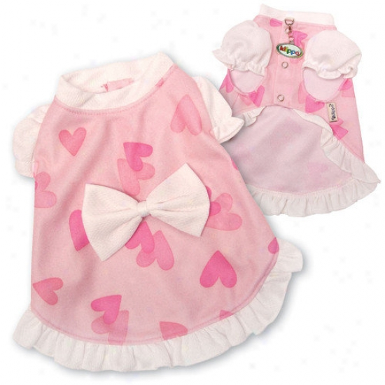 Klippo Pet Adorable And Lightweight Dog Dress With Hearts And Puffy Sleeves
