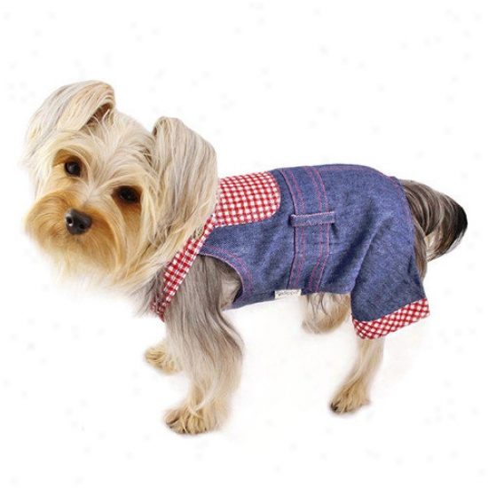 Klippo Pet Adorable Country Denim Overall With Checkered Pattern