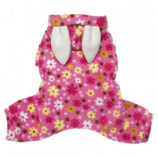 Klippo Pet Adorable Floral Bunny Fleece Dog Pajamas / Bodysuit By the side of Hood