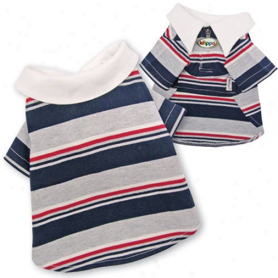 Klippo Pet Adorable Multi-colors Striped Polo Dog Shirt