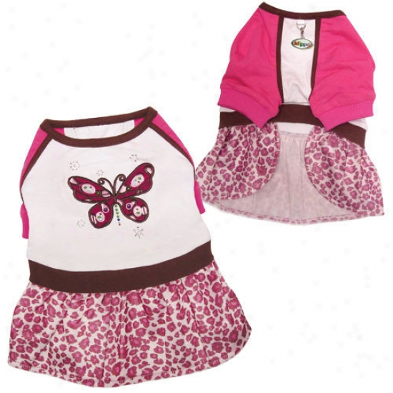 Klippo Pet Beautiful Bubbling Butterfly Dog Dress With Leopard Print Skirt