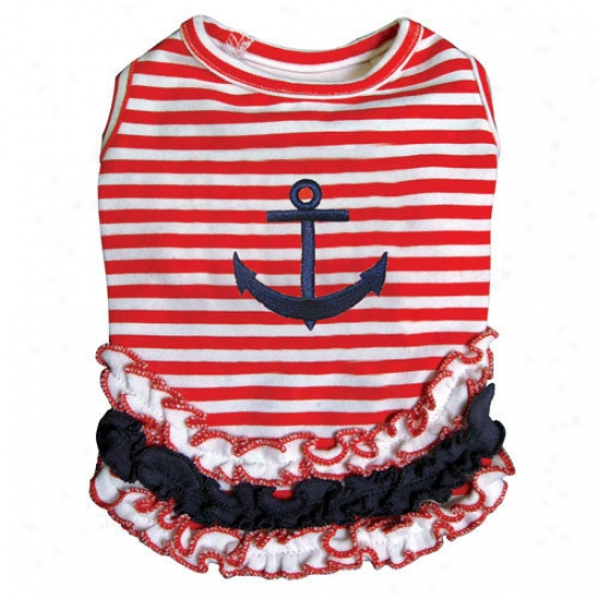 Klippo Pet Cute And Stripy Dog Seaman Shirt With Ruffles