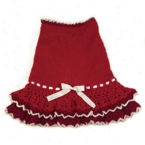Klippo Pet Glamourous Hand Knit And Crochet Layered Dog Dress