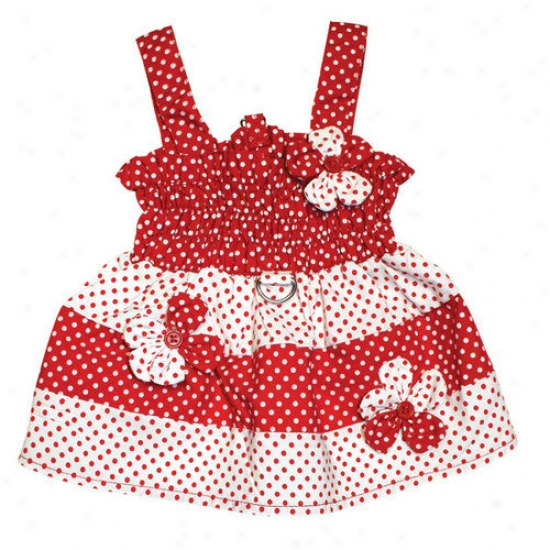 Klippo Pet Polka Dots Dog Sundress With Contrasting Flowers