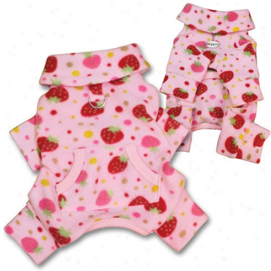Klippo PetY ummy Strawberries Fleece Turtleneck Dog Pajamas / Bodysuit