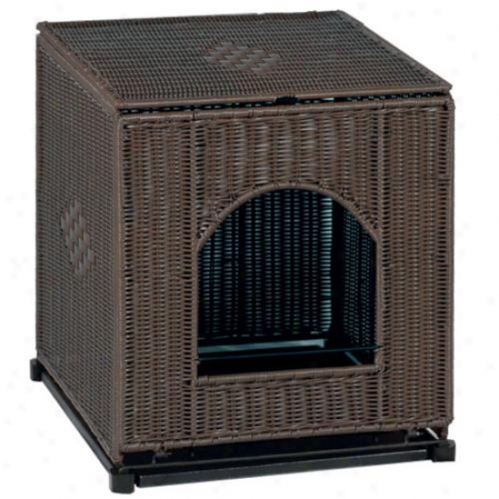 Large Dark Brown Wicker Litter Box Cover