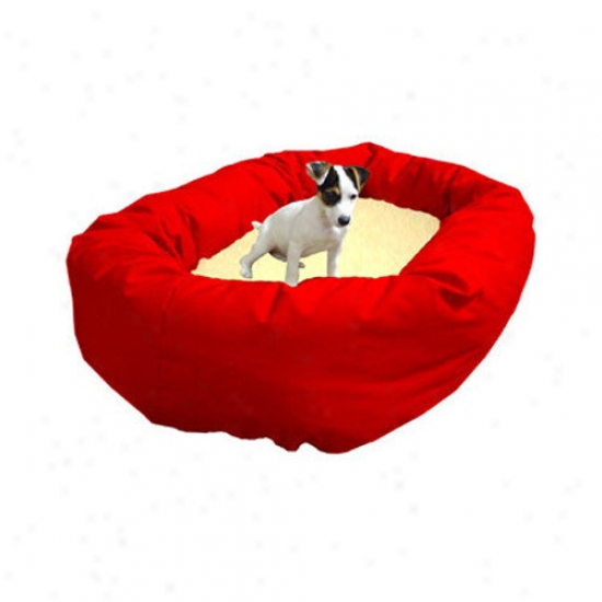 Majestic Pe5 Products Bagel Dog Bed In Red And Sherpa