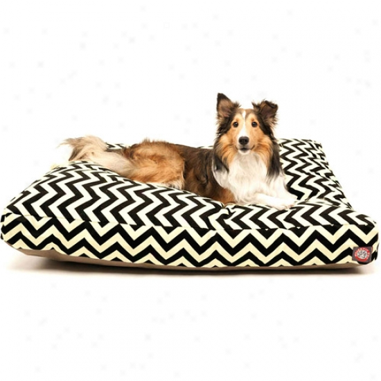 Majestic Angry mood Products Chevron Rectangle Pet Bed, Black