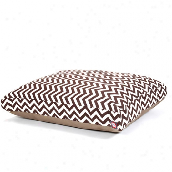 Majestic Pet Products Chevron Rectangle Favorite Bed, Chocolate