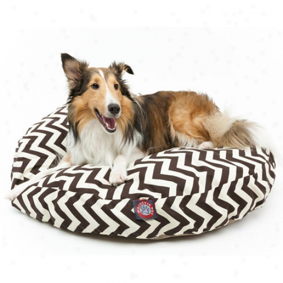 Majestic Pet Products Chevron Round Pet Bed, Chovolate