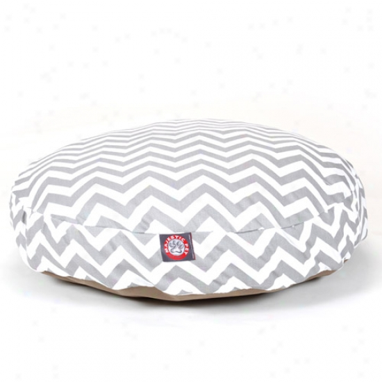 Majestic Pet Products Chevron Round Pet Bed, Gray
