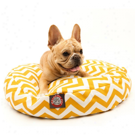 Majestic Pet Products Chevron Round Favorite Bed, Yellow