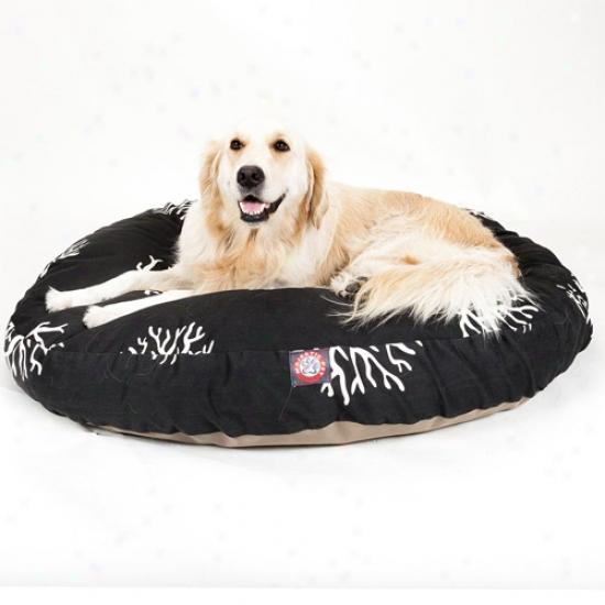 Splendid Pet Products Coral Round Pet Bed, Black
